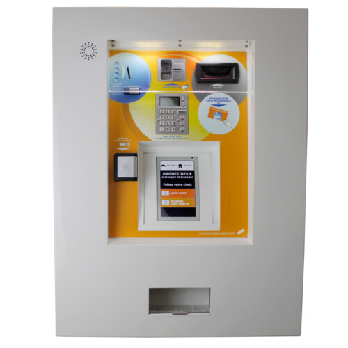 Wall mounted dispenser of tokens and/or cards
