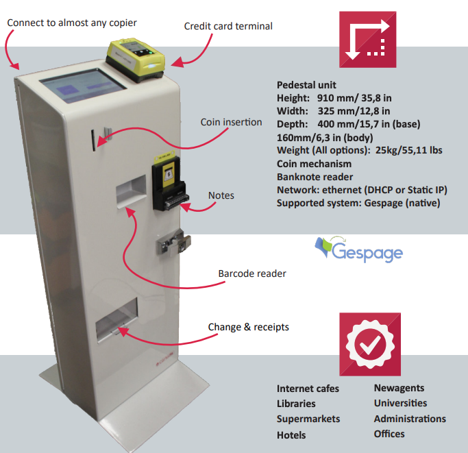 The CBOT is an autonomous kiosk to pay print, copy and scan.